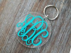 GIMME GIMME GIMME!!!!!!!!  Monogrammed Script Acrylic Keychain Great GIFT. $7.95, via Etsy.