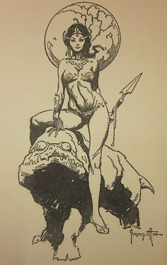 Tekumel. Tsolyani priestess of Dlamélish with Giant Blood Lizard (Kokh).