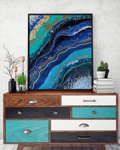Something blue #artbyloyal #resin #resinart #geode #painting #geodeart #geodepainting #crystals #design #wallart #artwork #artist #wow…