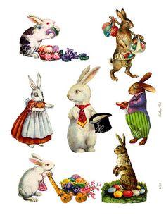 Instant Download konijn Vintage Pasen Clip Art voor Gift Tags wenskaarten Scrapbooking kunst en ambachten door GalleryCat CS159