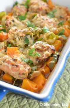 Slimming Eats Chicken, Leek and Butternut Squash Bake - gluten free, Slimming World (SP) and Weight Watchers friendly(Bake Squash Low Carb) Slimming World Dinners, Slimming Eats, Slimming World Recipes, Slimming Word, Butternut Squash Casserole, Chicken And Butternut Squash, Baked Squash, Squash Bake, Cooking Recipes