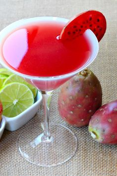 This prickly pear martini goes down smooth and easy. And just look at that gorgeous color!