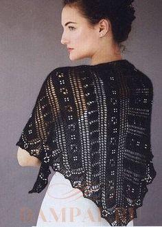Ажурная шаль с бисером (Вязание спицами)