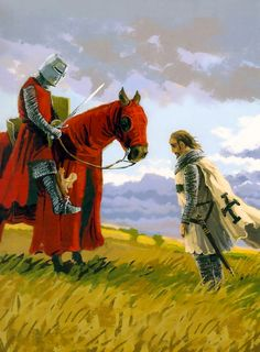 Meeting between a Polish knight and a Teutonic knight at Płowce
