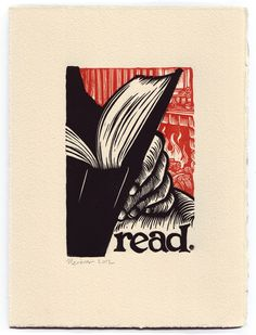 "Image of read.   A 7.5""x10"" block print meditation on the pleasure of reading."