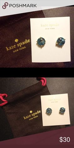 NWT Kate Spade Blue GumDrop Earrings with Dust Bag Very lovely earrings! The Blue  catches your eye. My preference is just a darker blue. So I ordered several pair from Lord and Taylor and the Blue on these is just not my color blue. These are bigger than most Kate spade earrings just to show you I compared to another pair I have in the 3rd picture. Very nice size!!! kate spade Jewelry Earrings
