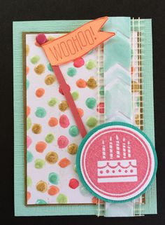Coloring the Texture.  Used an aquapainter to color the texture on this ATC, Artist Trading Card using the Big News and Amazing Birthday stamp sets used.  Decorative Dots and Arrows embossing folders used on this card by Beverly Stewart.