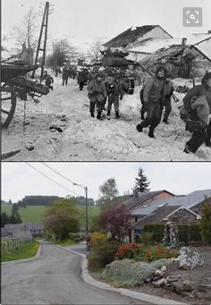 "Then and now... American reconnaissance troops, of the 87th infantry divisions, move up the main street of Bihain, to attack german troops ""dug in"" in the woods beyond the town, 11 january 1945."