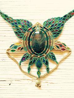 VENDIDO Collar de obsidiana arcoiris macrame hilo por AraZul