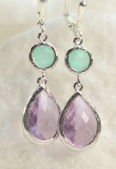 Lavender Purple Drop and Aqua Circle Jewel Dangle