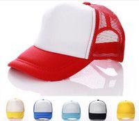 Wholesale Kids Trucker Hat - 14 colors Kids Trucker Cap Adult Mesh Caps Blank Trucker Hats Snapback Hats Acept Custom Made Logo D780