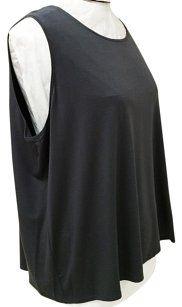 Eileen Fisher R2vf-u0580x Jewel Neckline Top Graphite gray sleeveless top $65 size 26 / 3x