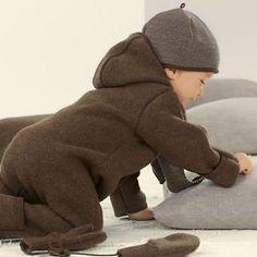 Overall- Romper hooded 100% Organic boiled wool Disana