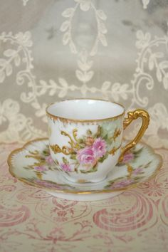 Gorgeous Antique AK CD Limoges France Demitasse and Saucer