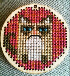 Grumpy Cat Cross stitch on wooden amulet / pendant