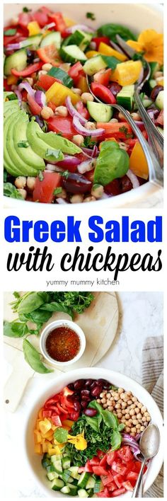 This delicious, easy, healthy Greek salad recipe is vegan and loaded with veggies, chickpeas, and an easy Greek salad dressing. I love making a huge lettuce-free salad on meal prep days and for parties. I'll be making this Greek salad all spring and summer long.