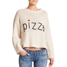 Wildfox Pizza Cropped Sweater ($140) ❤ liked on Polyvore featuring tops, sweaters, apparel & accessories, vintage lace, pink sweater, pink top, pink pullover, long sleeve pullover and cropped sweater