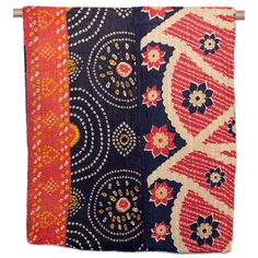 One-of-a-kind Kantha Quilt - Circle Dot