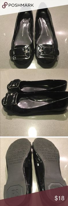 Franco Sarto Black Patent Flats Black Patent Flats with silver and Patent buckle over the toe. Barely worn as you can see from the bottom of the shoes. Small scratch on Patent near the sole, shown in the last picture. Franco Sarto Shoes Flats & Loafers