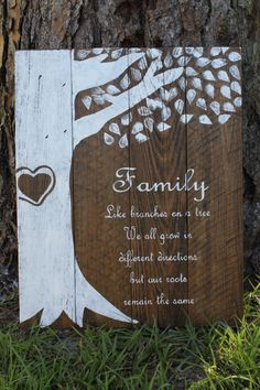 A personal favorite from my Etsy shop https://www.etsy.com/listing/249448589/family-tree-rustic-wood-sign-reclaimed
