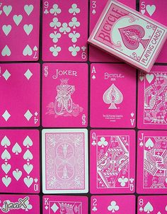 hot pink playing cards