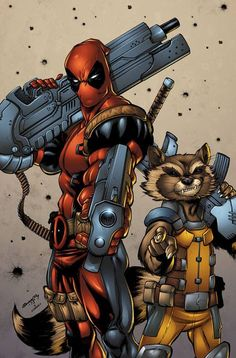 #Deadpool #Fan #Art. (Deadpool and Rocket) By: Tim Seeley & Sean Forney.