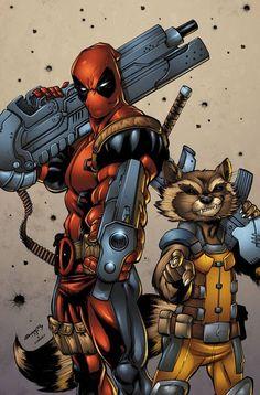#Deadpool #Fan #Art. (Deadpool and Rocket) By: Tim Seeley & Sean Forney.