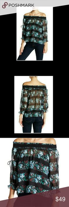 "COMING SOON NWT Whyte Eyelash  Off the shoulder blouse.  3/4 slash open sleeves w/ ribbon ties and elastic ruffle cuffs.All over print in Black, Mint Green, and Blue multicolor floral.. approx. 20"" Long. Whyte Eyelash Tops Blouses"