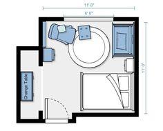 Layout for guestroom/nursery.