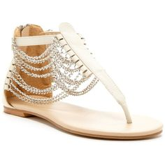 NYLA July Chained T-Strap Sandal (£20) ❤ liked on Polyvore featuring shoes, sandals, flats, sapatos, bone, t bar shoes, t-bar sandals, chain sandals, t bar flats and t bar flat shoes