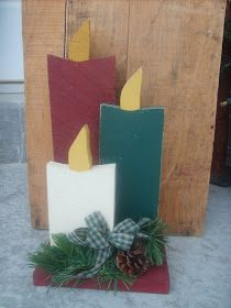 I made this candle trio for my Christmas decor using old barn wood. I created a candle template, and then traced the template onto the wood ...