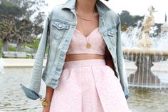 Lovely denim jacket as a cape... even lovelier pink ensemble from This Time Tomorrow