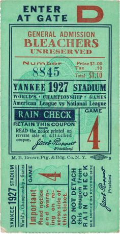 1927 World Series Game Four Ticket Stub. The final game of the greatest season in baseball history. Earle Combs would sprint home to break a three-three tie in the ninth inning this day, ending the Yankee sweep of the Pittsburgh Pirates in dramatic walk-off fashion.