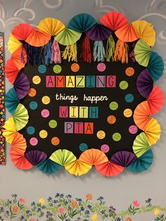 Black and brights PTA Bulletin board with a paper fan border! The circles include all of the events and functions that PTA puts on! Boarders For Bulletin Boards, Flower Bulletin Boards, Rainbow Bulletin Boards, Bulletin Board Design, Bulletin Board Paper, Birthday Bulletin Boards, Winter Bulletin Boards, Classroom Bulletin Boards, Art Classroom