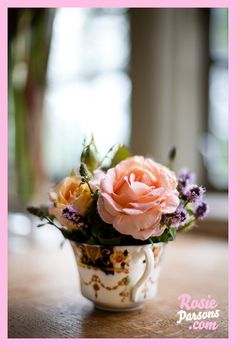 Lovely tea cup centerpiece for a bridal shower.
