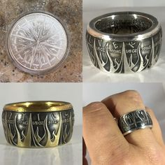Diy Jewelry Rings, Silverware Jewelry, Diy Rings, Coin Jewelry, Jewelry Art, Jewelery, Jewelry Design, Finger Band, Mens Silver Jewelry
