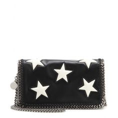 Stella McCartney - Falabella shoulder bag - Stella McCartney updates its compact 'Falabella' bag with a cosmic constellation of polished white stars. This Italian-crafted miniature works perfectly as both a clutch and a shoulder bag. The urban silver-tone chain is decorated with a round pendant boasting the brand's logo. seen @ www.mytheresa.com