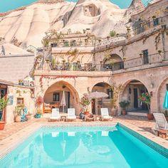 By @izkiz on Instagram ☆2017/08/23 03:33:18 ☆Cappadocia / Kapadokya ☆Magical moonscape hotels carved into rock in #Cappadocia 🌙 (Bagsy the room at the top! 😉)