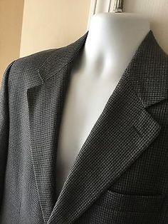 RALPH LAUREN 40 Short Brown Grey Blazer Silk & Wool Tick Weave Men