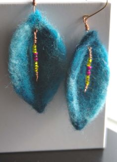 Unique Sophisticated Needle Felted Leaf Style Earrings by LouLousPetals on Etsy https://www.etsy.com/listing/168719431/unique-sophisticated-needle-felted-leaf