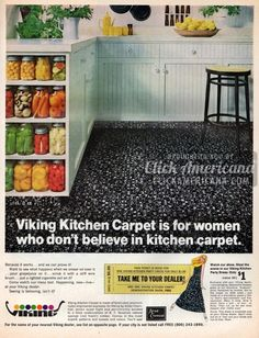 See vintage kitchen carpet from when it was popular home decor in the & - Click Americana Nylon Carpet, Shag Carpet, 1960s Kitchen, Vintage Kitchen, Vintage Advertisements, Vintage Ads, Viking Kitchen, Retro Bathroom Decor, Indoor Outdoor Carpet