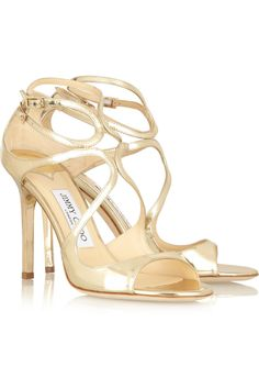 JIMMY CHOO Lang mirrored-leather sandals