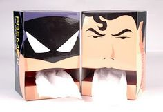 Just don't know what to say about this. Never have I thought 'I'd like to have my tissues dispensed from the mouth of a super hero'. Spiderman's hands would just about  work, but regurgitated from by alien or a vigilante billionaire - NOPE!