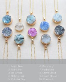 Druzy Necklace - OliveYew.  *Due to this being a natural stone, the color and texture may vary. Charm materials: Druzy stone and 14k gold plated.