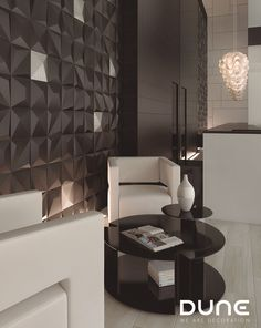 KIOTO BLACK - 25X25cm -  Tile with 3D relief, in the form of an off-centred pyramid. In matt-black, allowing for plenty of variation in the way it is used to achieve a play of volumes that accentuate the light. #duneceramica #creativity #tiles #decoration #design #home #interiors #lifestyle #architecture #style #fashion #creatividad  #azulejos #diseño #decoración #casa #interiores #estilodevida #arquitectura #estilo … www.dune.es