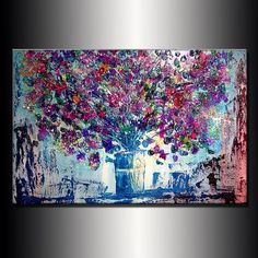 ORIGINAL Abstract Contemporary Art  Flowers by newwaveartgallery, $450.00