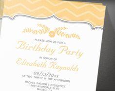 Peach Zigzag Birthday Party Invitation