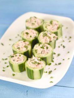 Verrines de thon et mascarpone dans une bouchée de concombre