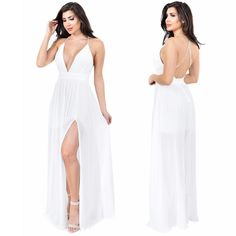 Aurora Side Slit Maxi Dress is now available in WHITE // Shop: Emprada.com