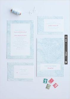 vintage map wedding invites by | VIA #WEDDINGPINS.NET